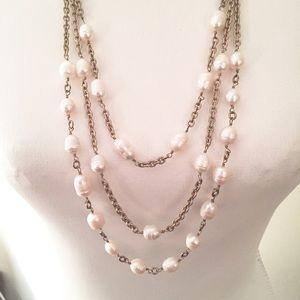 Ann Taylor triple strand goldtone & pearl necklace